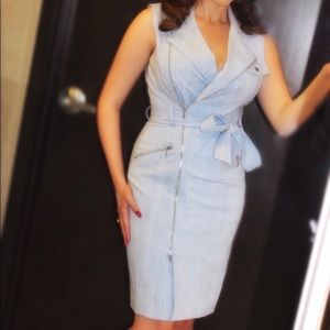 Calvin Klein Blue Belted Zip Dress